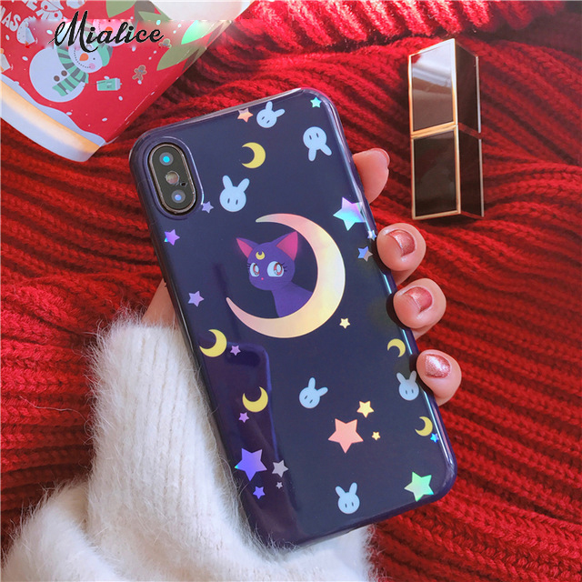 Laser Sailor Moon Phone Case for iphone X 6 6s 6plus 6splus 7 7plus 8 8plus Cute Cat Purple Soft TPU Back Cover Case