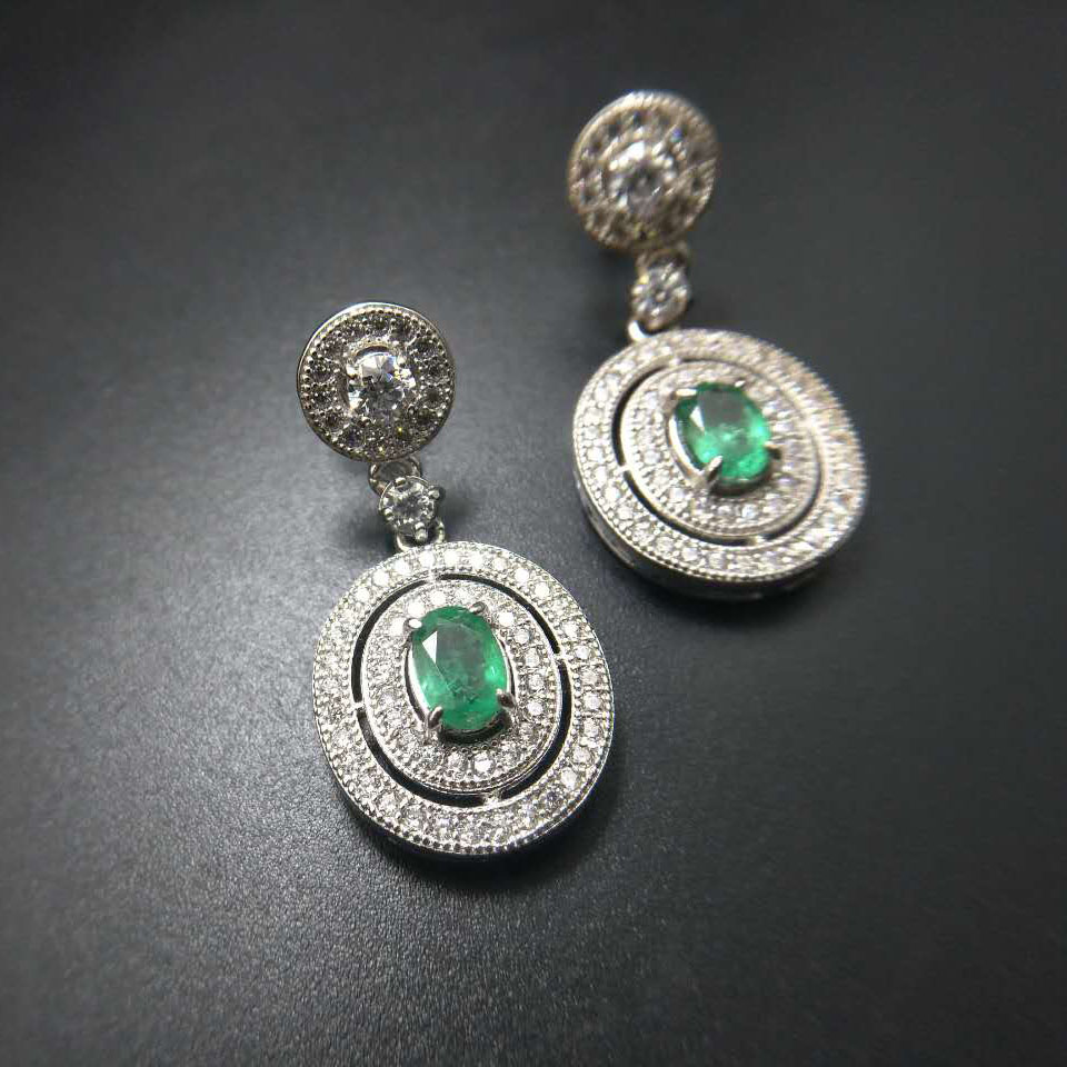 TBJ,classic earring design,natural emerald earring in 925 sterling silver gemstone jewelry for women with gift box