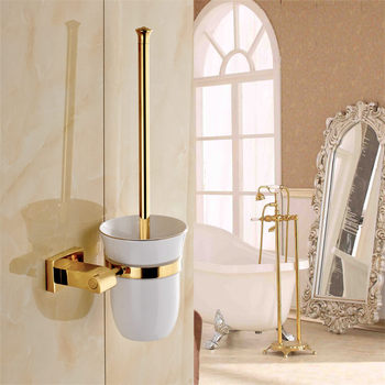 Toilet Brush Holders Wall Mounted Toilet Brush Holder Lavatory Brush Holder Total Copper Cup Holder Bathroom Cleaning Tools Set