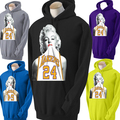 FUNNY MEN'S HOODIES NEW MARILYN MONROE LAKERS HOODIE WEARING KOBE JERSEY PULLOVER PLUS SIZE s-3xl