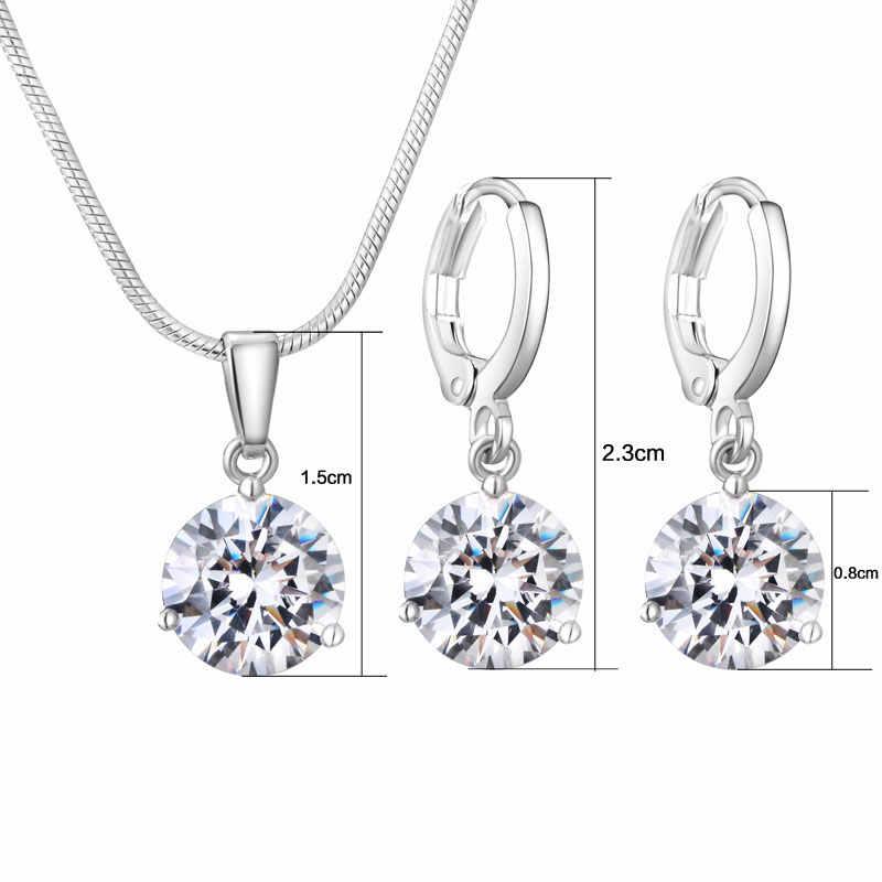 19 Colors Khuyến Mãi New Bạc Màu Vòng Cổ Stud Earring Trang Sức Set cho Cô Dâu Bridal Bridesmaid Wedding Jewelry Sets JS0003