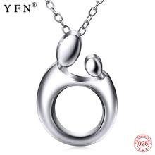 YFN gerçek 925 ayar gümüş kolye kolye anne bebek desen kolye anneler günü hediye takı kadınlar için 925 gümüş zincir