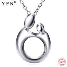 YFN prawdziwe 925 Sterling srebrne wisiorki naszyjniki matka dziecko wzór naszyjnik dzień matki prezent biżuteria dla kobiet 925 srebrny łańcuszek