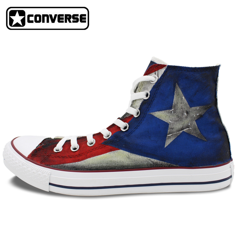 USA Puerto Rico Flag Converse All Star Custom Design Hand Painted Shoes Man Woman High Top Men Women Sneakers Unique Gifts картридж для принтера и мфу panasonic kx faty508a7 yellow