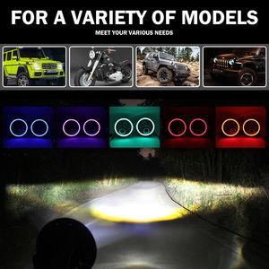 Image 3 - RGB Halo 7 Inch Led Headlight   Plug And Play Bluetooth Led Angel Eyes Headlight Sealed Beam For Jeep Wrangler CJ JK Accessories