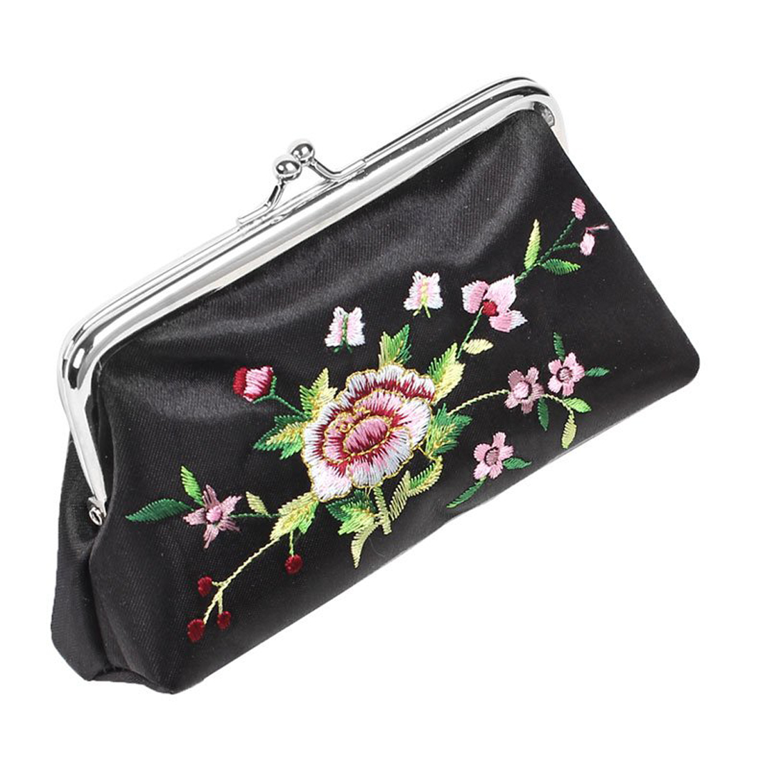 ФОТО 10pcs( ASDS Black Floral Embroidered Wallet Lipstick Holder Case 3 in 1 Set