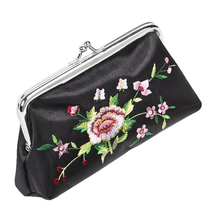 10pcs( ASDS Black Floral Embroidered Wallet Lipstick Holder Case 3 in 1 Set