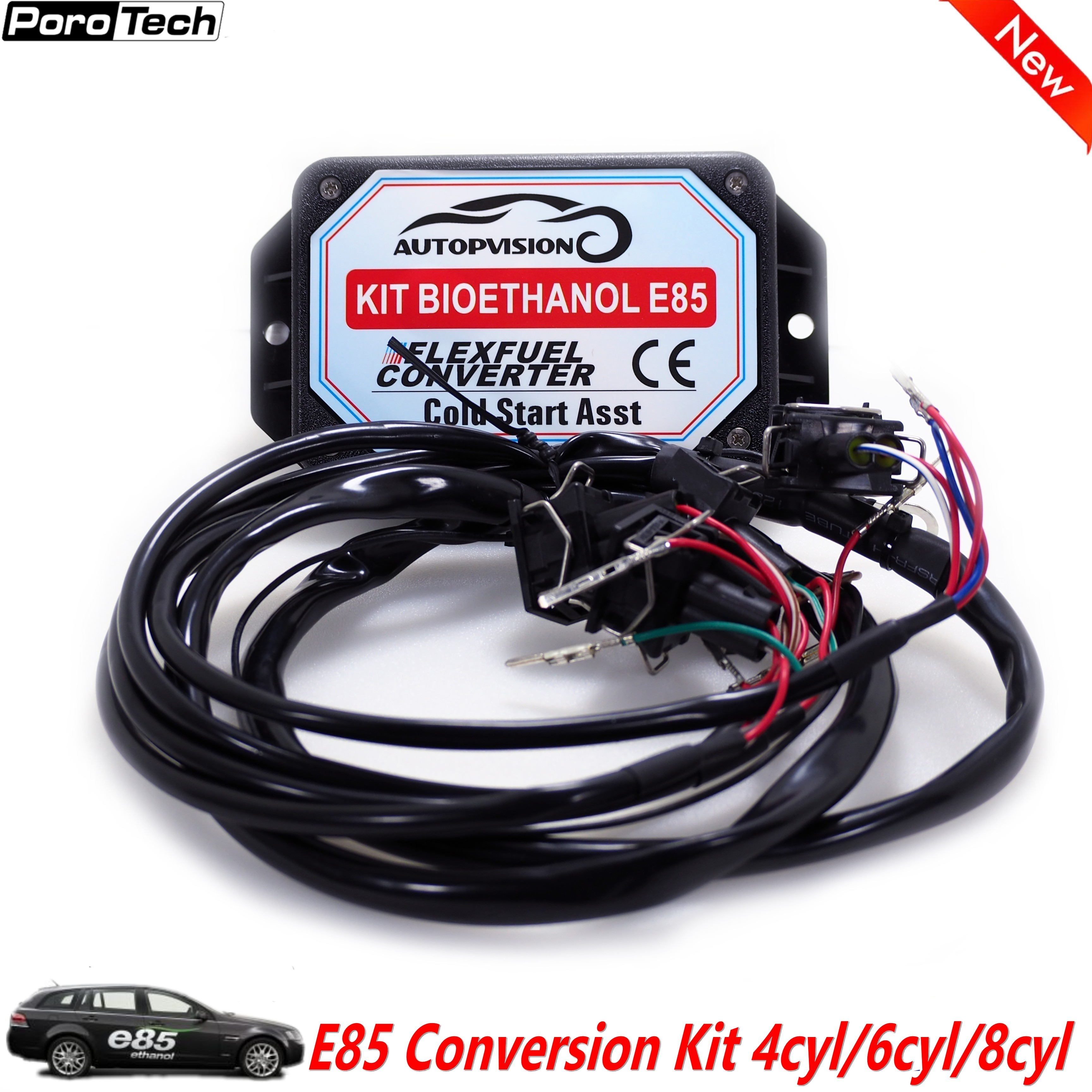 NEW Cool Start E85 4/6/8CYL Conversion Kit Flex Fuel Ethanol Car, Work With Car Original Fuel Injection System Adjust Air/fuel