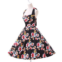 ผู้หญิงฤดูร้อนสีดำชุดA Udrey H Epburnดอกไม้ย้อนยุควิน