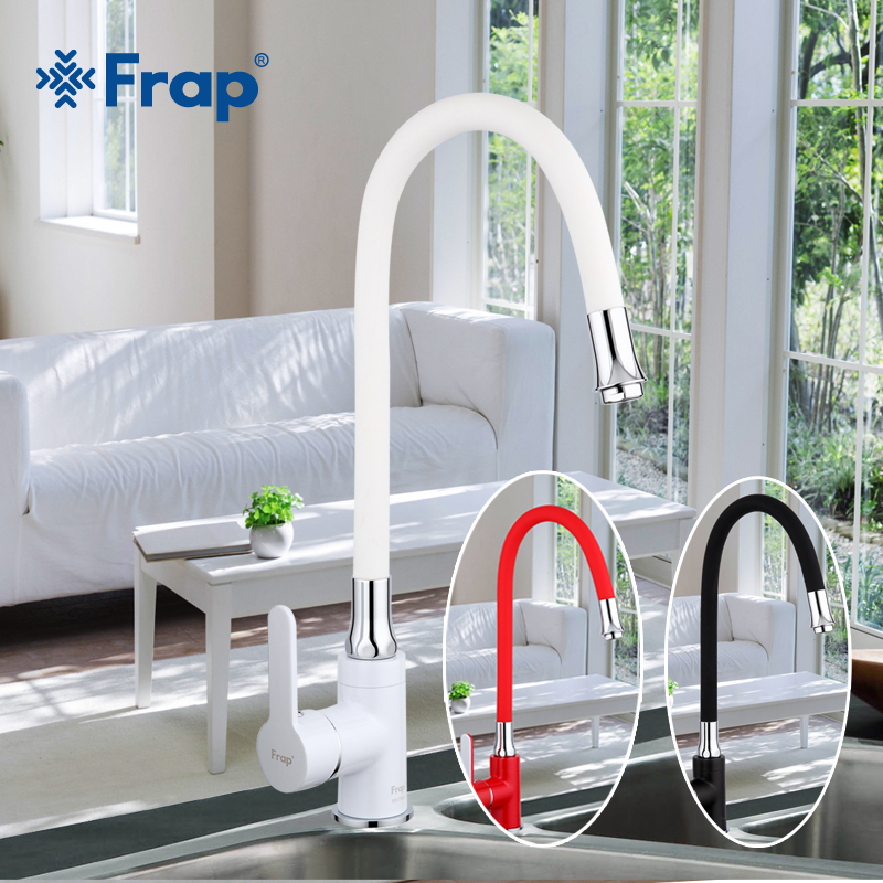 Frap Business Style Black White Red Silica Gel Nose Any Direction Kitchen Faucet Cold and Hot Water Mixer F4042 F4041 F4043