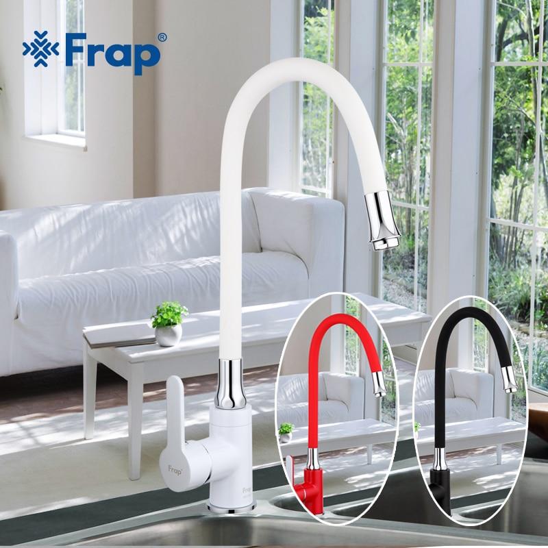 Frap estilo empresarial negro blanco rojo Gel de sílice nariz cualquier dirección cocina grifo frío y agua caliente mezclador F4042 F4041 F4043
