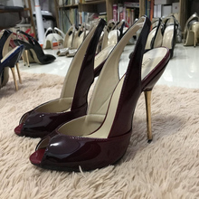 Women Stiletto Thin Iron High Heel Sandals Sexy Sling Back Peep Toe Black and Red Patent Party Bridal Ball Lady Shoe 3845-g13