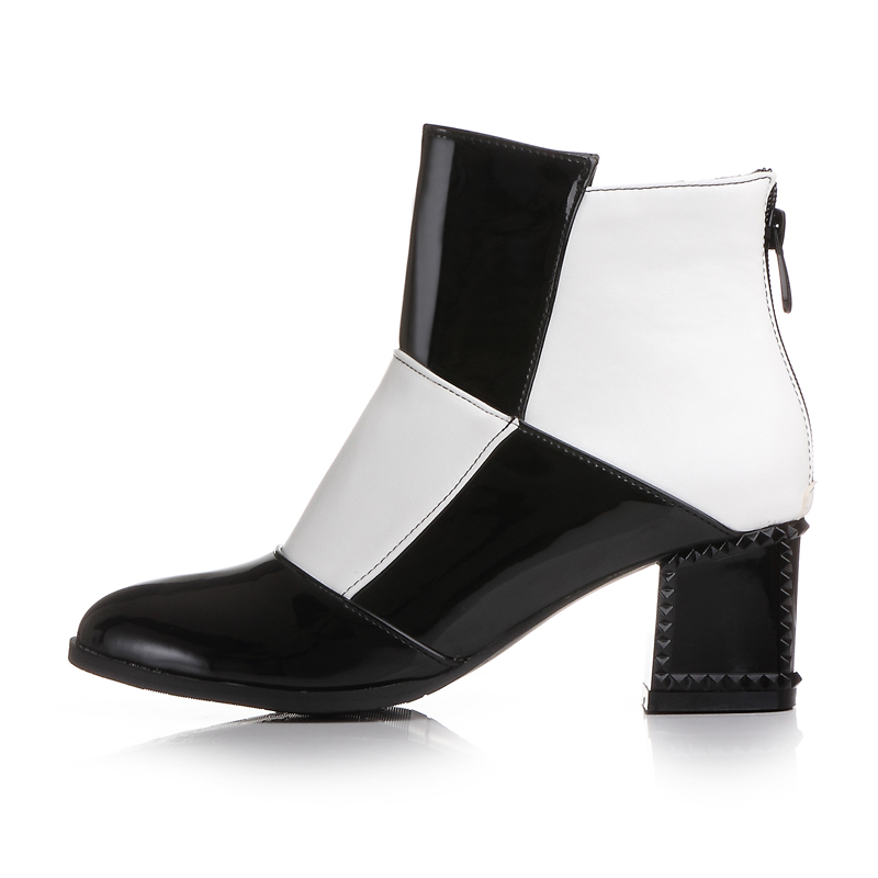 ФОТО Women Boot Spring Autumn Foot Shoe Square Heel Pointed Geometric Ankle Shoe Black Multicolor Rubber Patent Leather Martin Boot