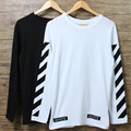 OFF WHITE Brand Clothing Hip hop Streetwear Crossfit t shirt Men Camiseta Black Striped Flocking Harajuke Trasher T-shirt  XL