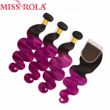 Miss Rola Hair Brazilian Body Wave Hair Weaving 3 Bundles With Closure T1B Purple Color 100