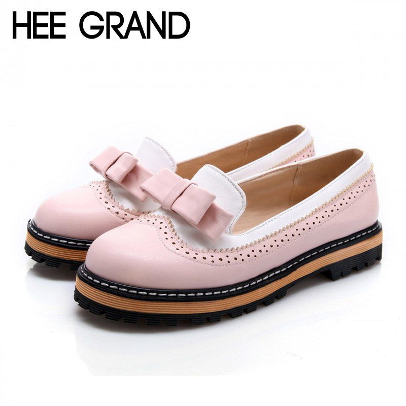 HEE GRAND Bowtie Loafers Women Shoes Platform Brogue Shoes Woman Casual Creepers Sweet Patchwork Oxfords Slip On Flats XWD3421 hee grand 2017 creepers summer platform gladiator sandals casual shoes woman slip on flats fashion silver women shoes xwz4074