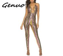 Genuo New Stripe Sequined Jumpsuits Sexy Glitter Lace-up Pantsuits Rompers Club Dance Party Red Carpet Wear