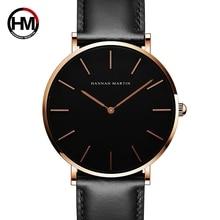 2018 nova HM marca relógio de Quartzo para os amantes casuais simples relógios casal mostrador preto pulseira de couro couro moda Criatividade CH02