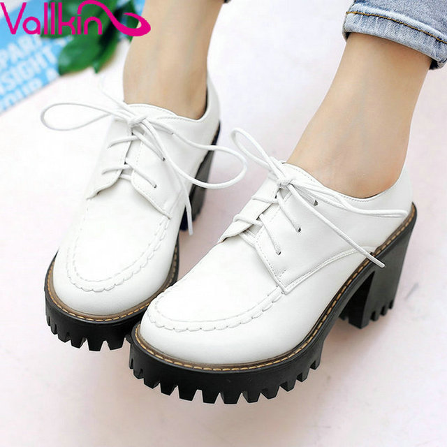 VALLKIN Large Size 11 12 White Woman Shoes High Heel Ankle Boots Round Toe White  Platform Short Boots Square Heel Casual Shoes