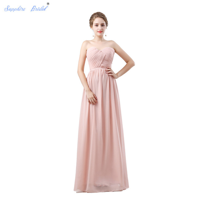 Sapphire Bridal Navy Champagne Blush Coral Simple Chiffon Party Gowns Long  A Line Sweeheart Pleated Bridesmaid Dress 6f762e58e707