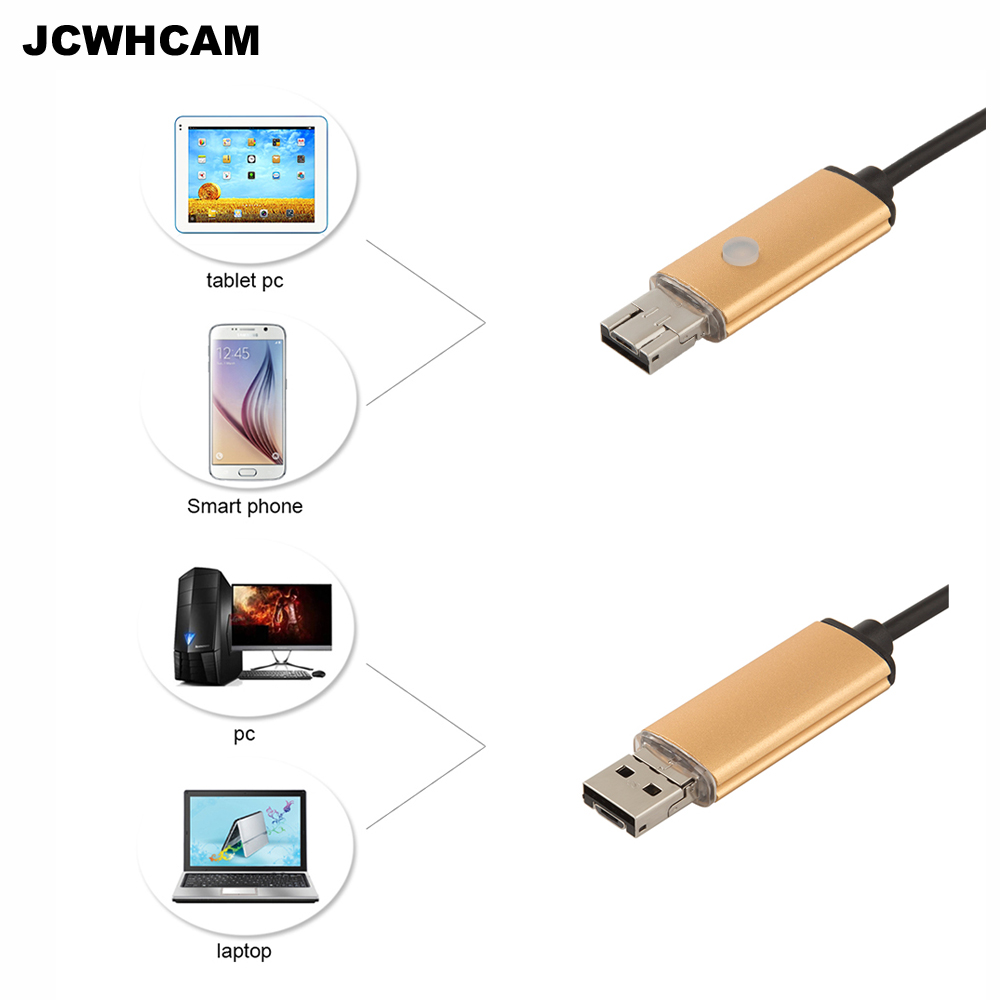 JCWHCAM 7mm Dia USB Endoscope 1m Long Cable Waterproof 6-led Borescope Endoscope Inspection Car Visual Camera Copper Pipe Video