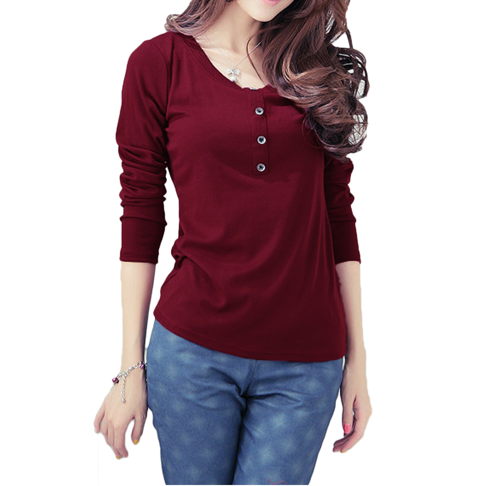 Womens Red Long Sleeve Shirt