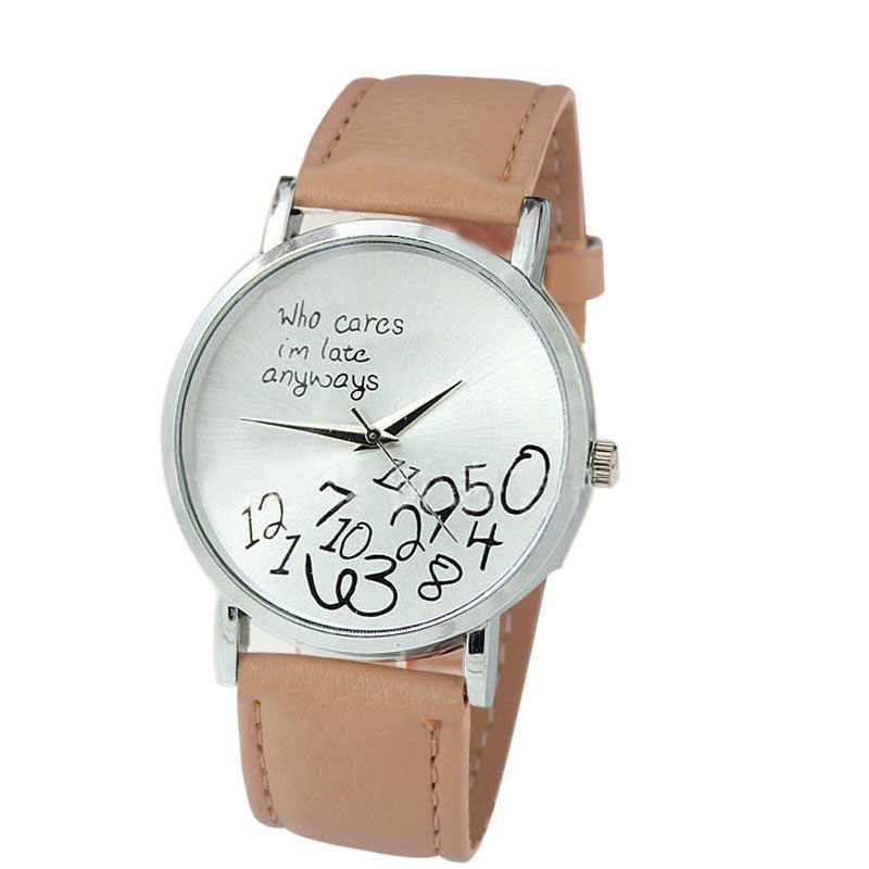 relogio masculino 2018 New Women PU Leather Watch Who Cares I am Late Anyways Letter Watches Hot Sale Relogio Feminino P40