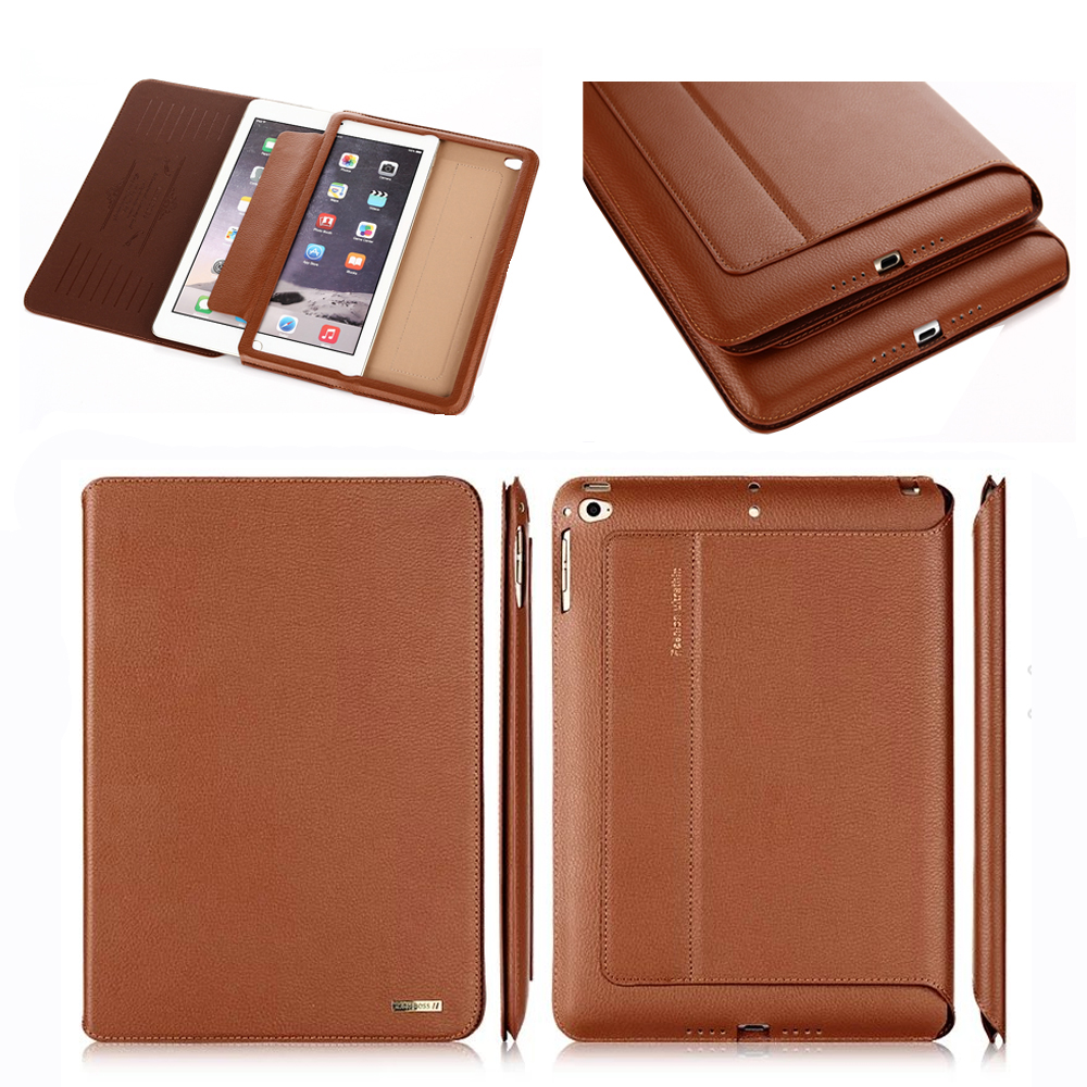 100% top genuine leather case for ipad air ipad5 smart cover for ipad air2 Ultrathin full protector smart sleep/wake up case special genuine natural bamboo wood case cover skin protection for ipad air 5 mar15