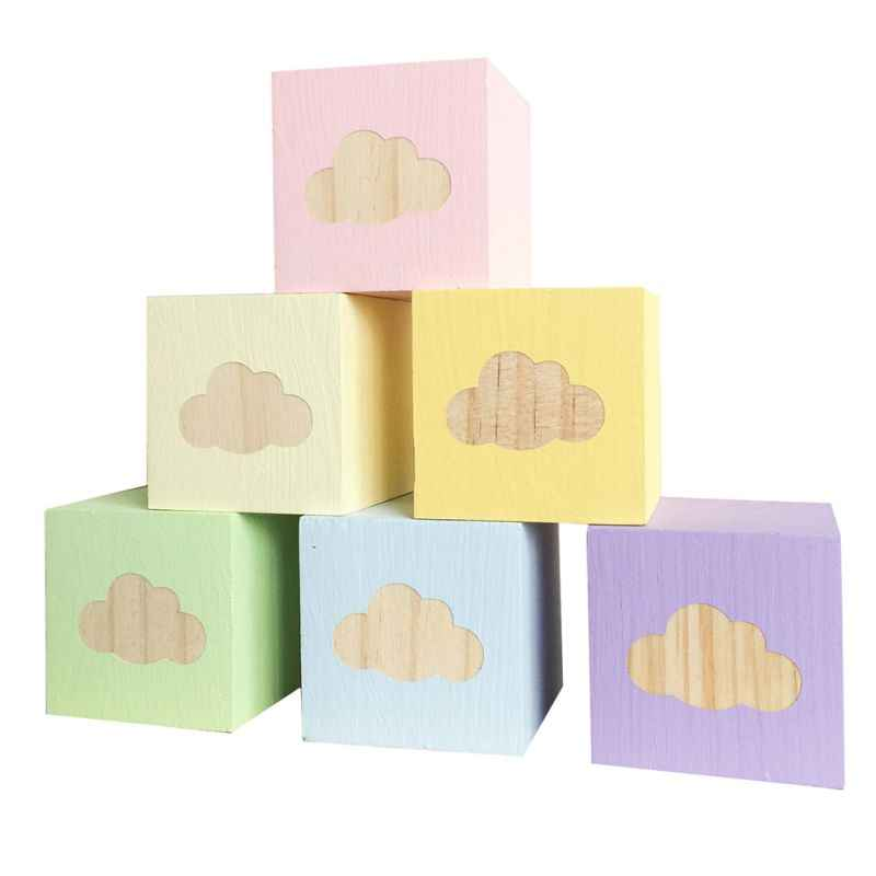 Stile nordico Decorazione Della Casa Desktop Piccoli Ornamenti In Legno Massello Nube Ornamenti Quadrati Bambini Favor Toy Home Decor Kids Room Decor