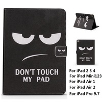 Do Not Touch My Pad Pattern PU And PC Material Support Protective Cover Case For IPad