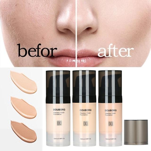 Base de maquiagem facial, líquido de acabamento fosco, maquiagem, corretivo, à prova dágua, cosmético natural