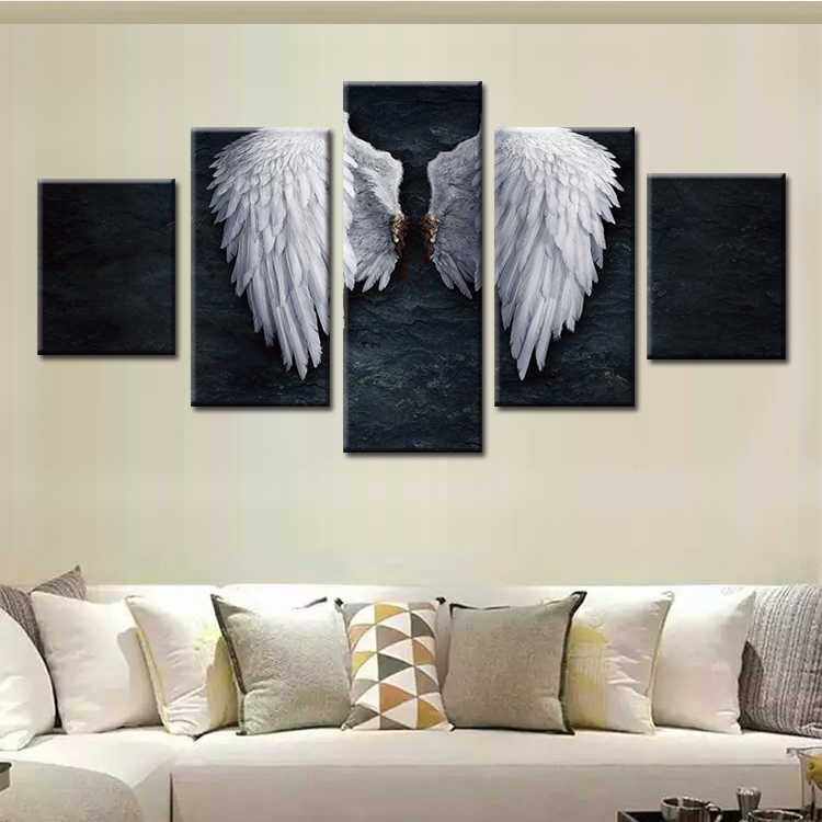 Wholesale Framed 5 Piece Picture Angel wings Canvas Art Print Oil Painting Wall Pictures for Living Room Paintings Decor
