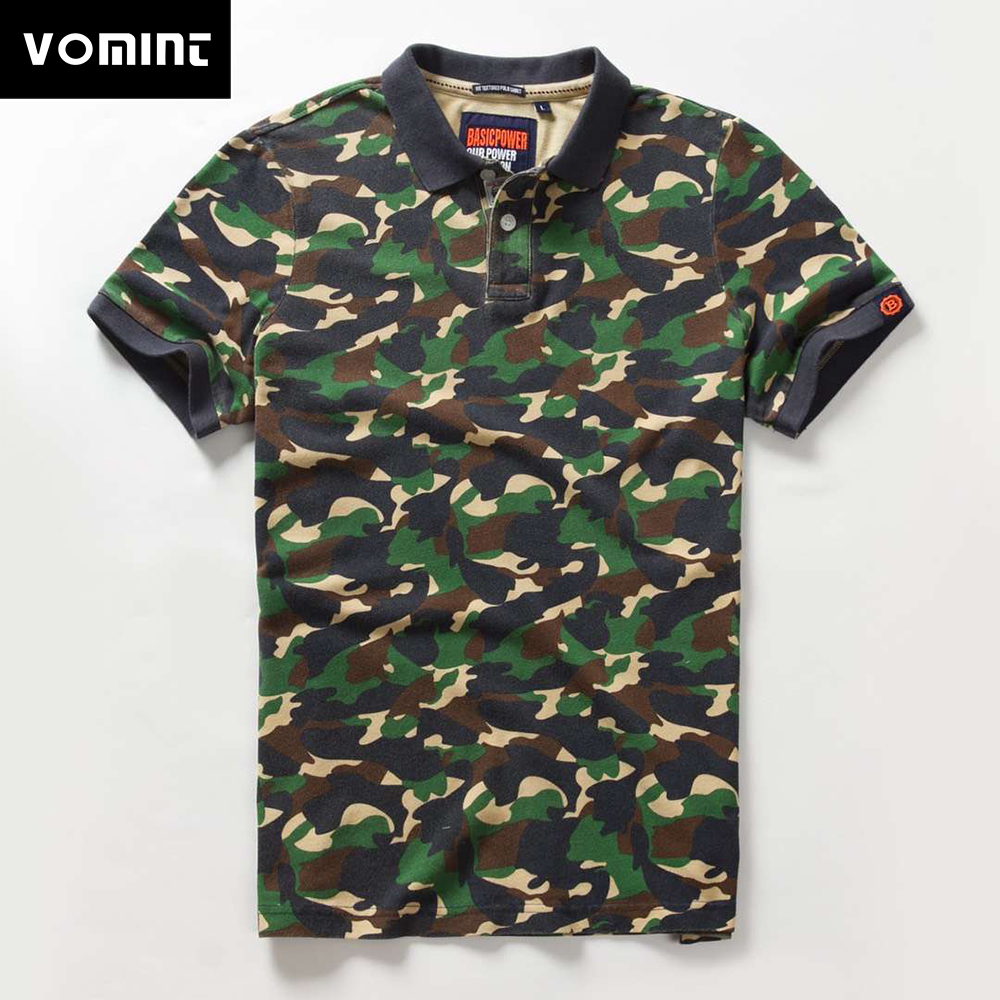 Vomint 2019 Summer New Mens Combed Cotton   Polo   Short Sleeve Solid Color camouflage Printing   Polo   shirt BP6911