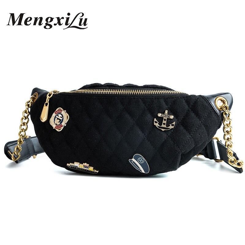 MENGXILU Brand Waist Back Full Fashion PU Waist Bag Women Fanny Pack Belt Bag Waist Femal Plaid Money Travel Phone Pouch Bag