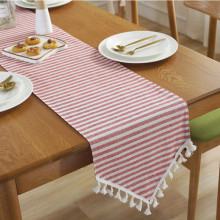 Decorative Wedding Hall Corridor Red White Striped Tablecloth Runner Family Table Quality Christmas