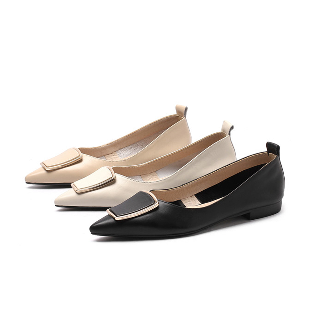 Super Komfort Wohnungen Spitz Echtem Leder Frühling Sommer Damen Soft Elegante Frauen Marke Schuhe plus größe DMJ02 MUYISEXI-in Flache Damenschuhe aus Schuhe bei  Gruppe 2