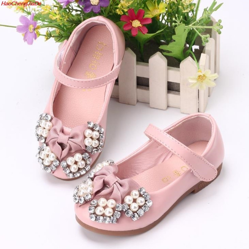 HaoChengJiaDe Autumn Baby Girls Shoes For Children Princess Butterfly  Flower Pearl Glitter Casual Leather Kids Shoes c7b6f5e982a4
