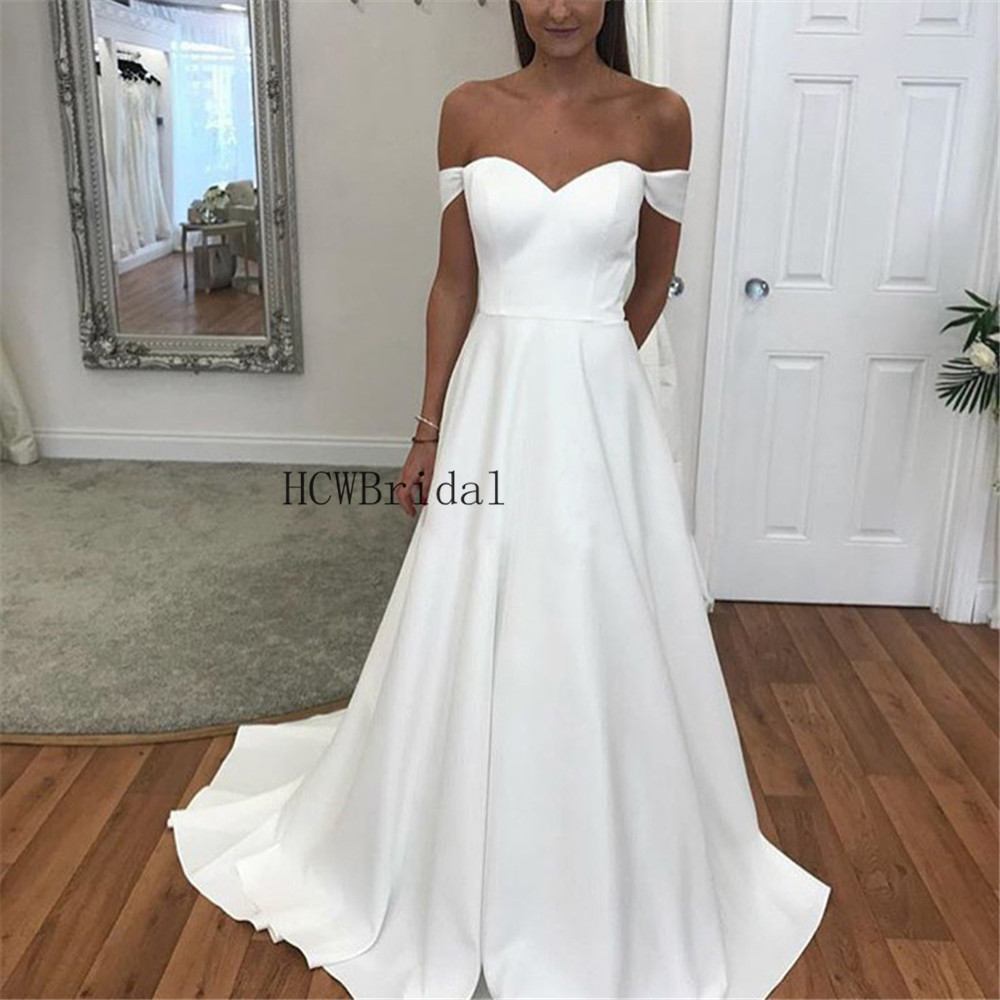 Simple White Satin Wedding Dresses Strapless A Line Floor