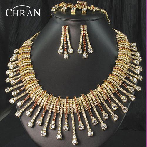 CHRAN Espumante Traje Nupcial Jóias Mulheres Acessórios de Moda Banhado A Ouro de Cristal Austríaco Strass Conjunto De Jóias de Casamento