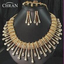 CHRAN Espumoso de Cristal Austriaco Joyería Nupcial Traje de Las Mujeres Accesorios de Moda Chapado En Oro Rhinestone Joyería de la Boda