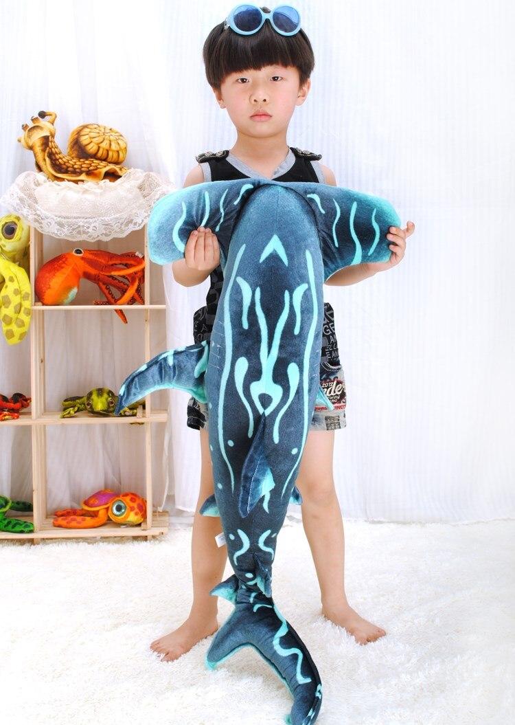 Grand 100 cm dessin animé gris requin marteau peluche jouet doux oreiller cadeau d'anniversaire b0970