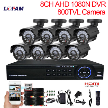LOFAM CCTV System 8ch dvr kit 8 channel outdoor waterproof video surveillance Camera Kit Home 8CH AHD DVR security camera System surveillance camera
