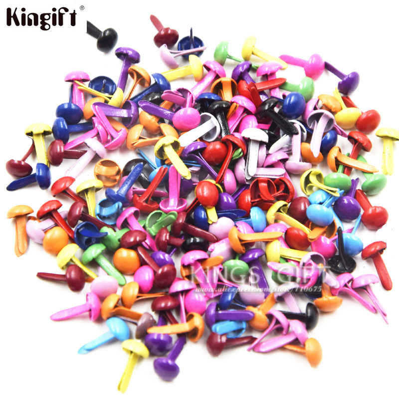 100pcs Metal Brads Scrapbooking Embellecimiento Mini Brads Epoxy Pearl Brads Color Dorado, Kits de Scrapbook Envío gratis