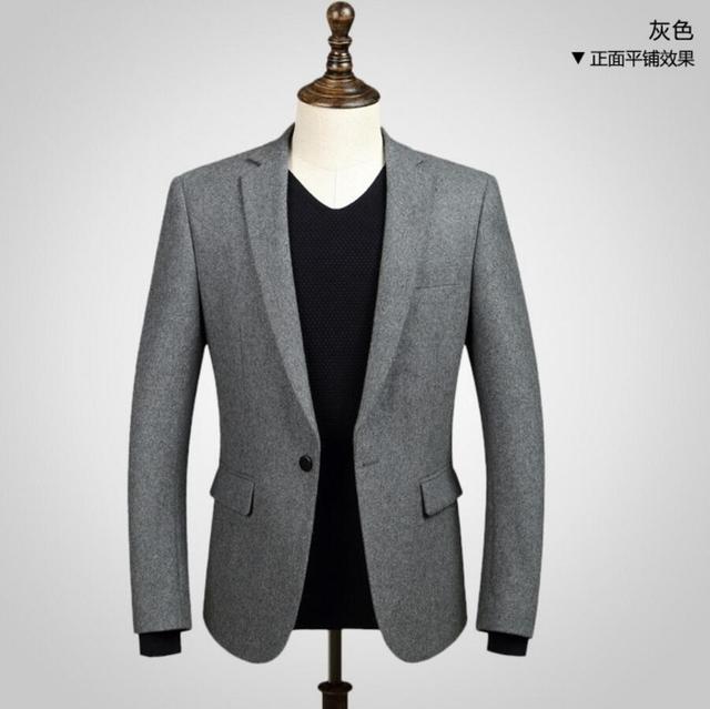 Мужчины куртка горячее надувательство моды красивый стиль полушерстяные ткани куртка one button нагрудные с длинными рукавами, чтобы согреться блейзер