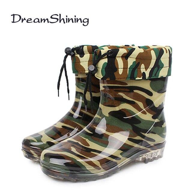 DreamShining Invierno Hombres RainBoots Antideslizantes Resistentes al Desgaste Botas de Punta Redonda Plana Con Slip-On de Mantener Caliente Zapatos camuflaje Hombres Winte
