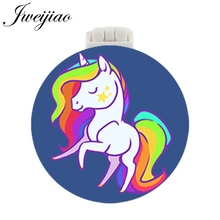 JWEIJIAO Unicorn Pocket Mirror With Massage Comb Animal Style Folding Compact Portable Make up Multifunctional Beauty Tools vintage style portable folding airbag massage comb with mirror