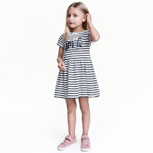 2019New Little Baby Girls Dress Letter striped Casual princess dress Children Kids Dresses For 1T 2T 3T 4T 5T 6T 7T