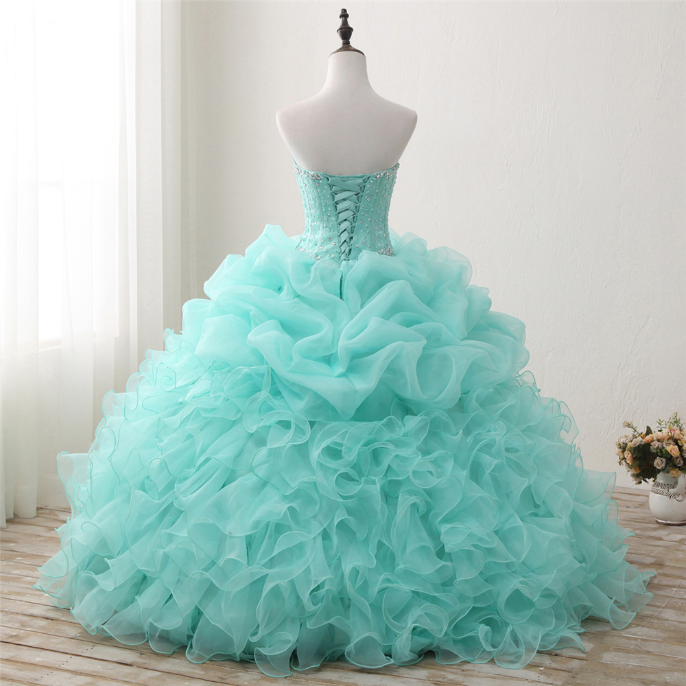 Bealegantom 2018 New Real Photo Mint Quinceanera Dresses Ball Gown - Հատուկ առիթի զգեստներ - Լուսանկար 5