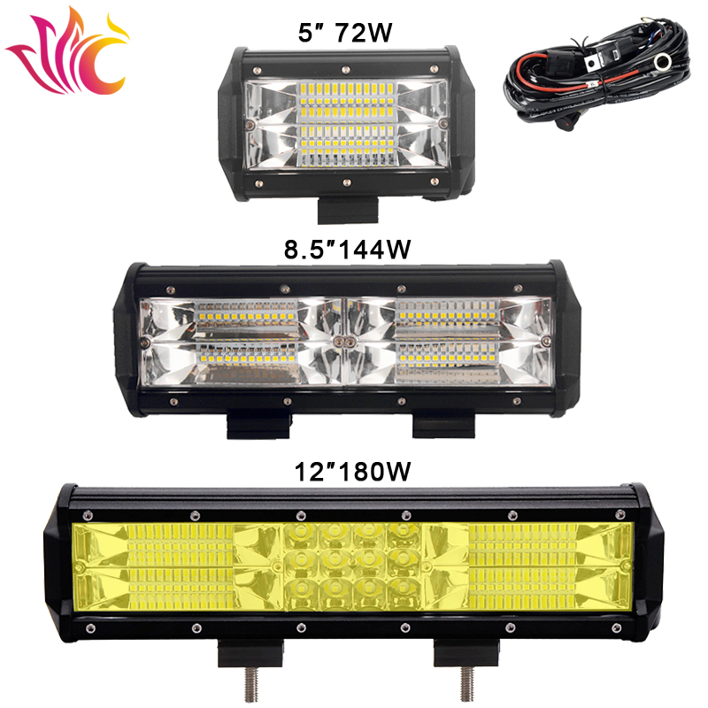 8.5'' Inch 144W Led Light Bar 3-Row 72W 180W Amber Color for Car 4x4 Offroad SUV UAZ Working Fog Lights Headlight 12v 24v Barra