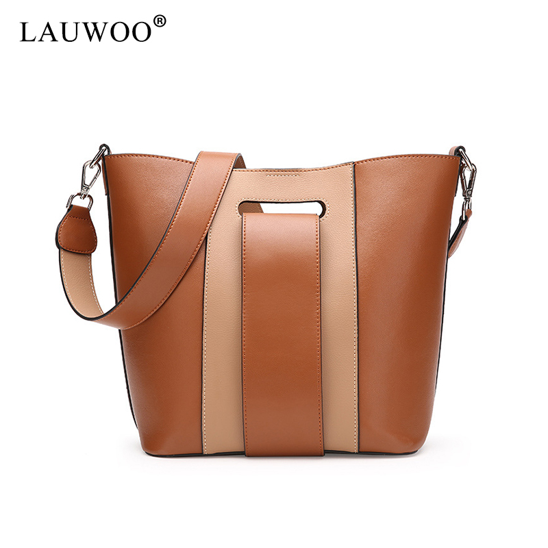 LAUWOO Lastest Women fashion cow leather Composite bag Female Casual Leisure Crossbody Bag Lady 's Wide straps shoulder bags